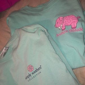 lot of two preppy long sleeve tees women's small